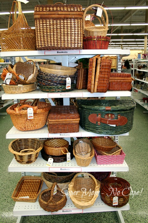Tall shelf of basket at Value Village