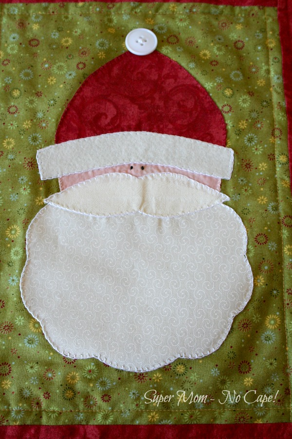 Close up photo of the Finished Santa Table Runner