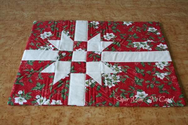 Photo of Red Floral Quilted Gift Wrap Pillow Cover