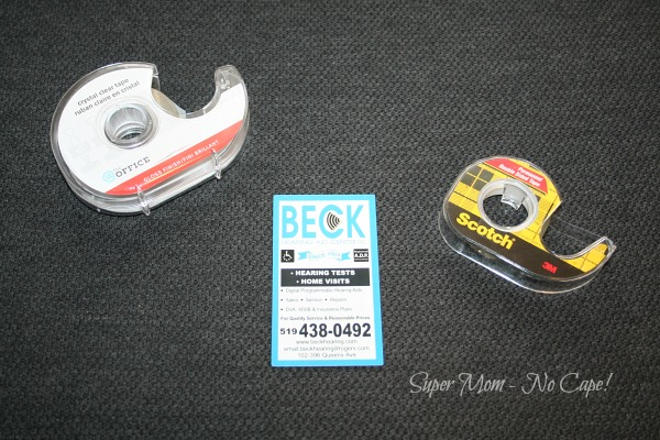 Photo of supplies needed to make magnet tape dispenser