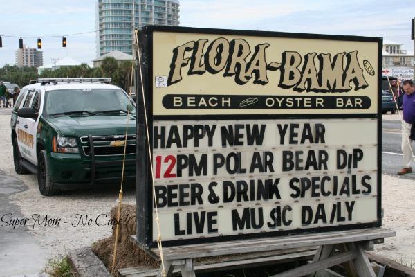 Photo of the Flora-Bama advertising the Polar Bear Dip