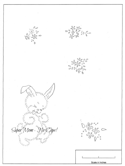 Vintage Workbasket Embroidery Pattern for a bunnies and small daisies