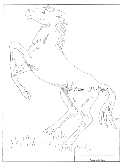 Vintage Workbasket Embroidery Pattern of a Rearing Horse from pattern page 79