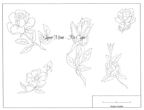 Vintage Workbasket Embroidery Pattern for 5 different roses