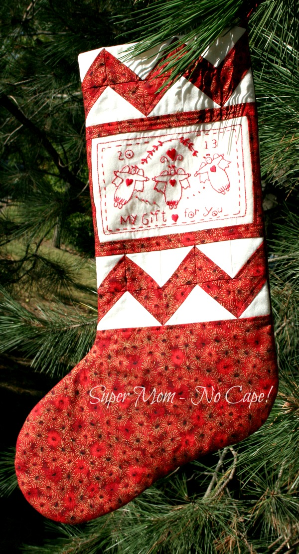 Embroidered Quilted Christmas Stocking