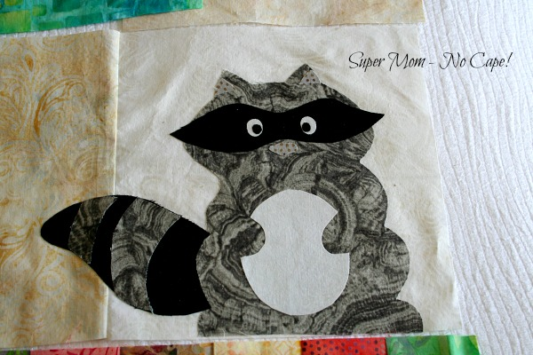 Applique raccoon for One Big Cabin quilt