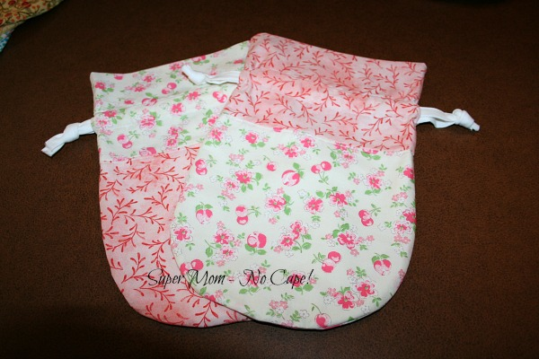 Photo of rose and cherry floral drawstring bags