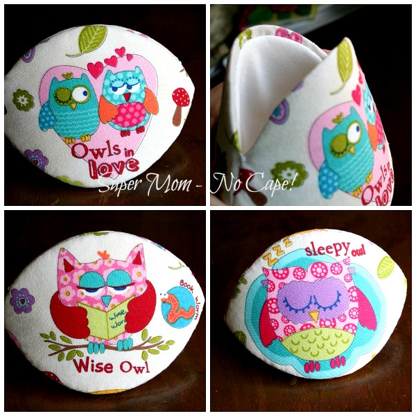 Fussy cut owl clam shell accessory case