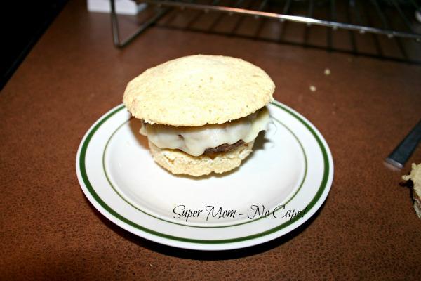 GF muffin sliced to make smaller bun
