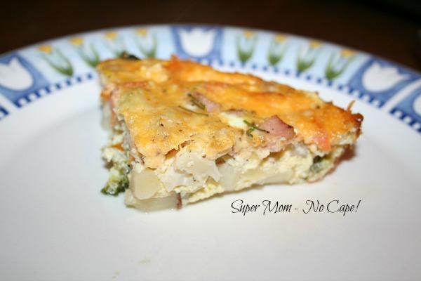 A slice of delicious crustless quiche