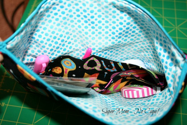 Inside pockets of Terry's zippered pouch