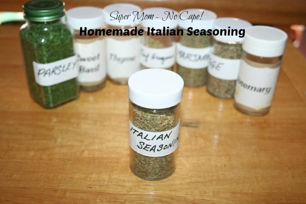 Jars of herbs for Italian Seasoning
