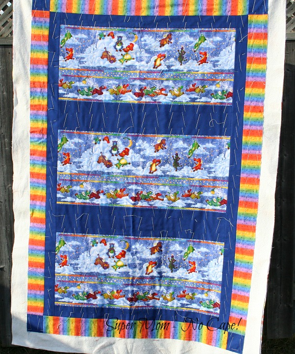 Flying Zebra Quilt basted and ready to quilt