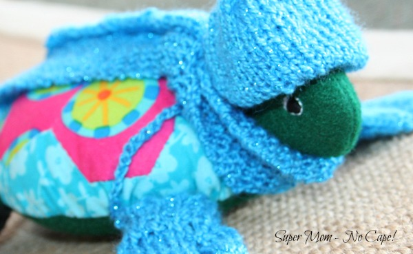Lexie the Hexie Turtle with her hat fitting just right.