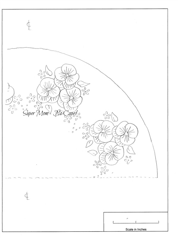Workbasket Pattern for a Pansy Dresser Scarf - right section