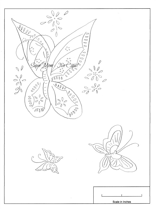 Workbasket embroidery patterns for three butterflies