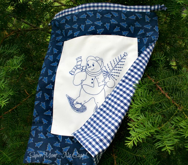 Snowman Gift Bag with blue gingham back