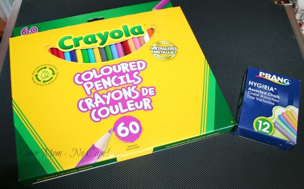 Crayola colored pencils and a box of chalk