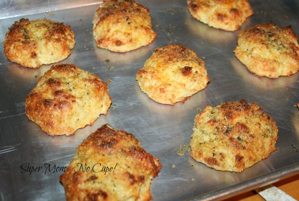 Allow the GF Cheddar Bay Biscuits to cool.