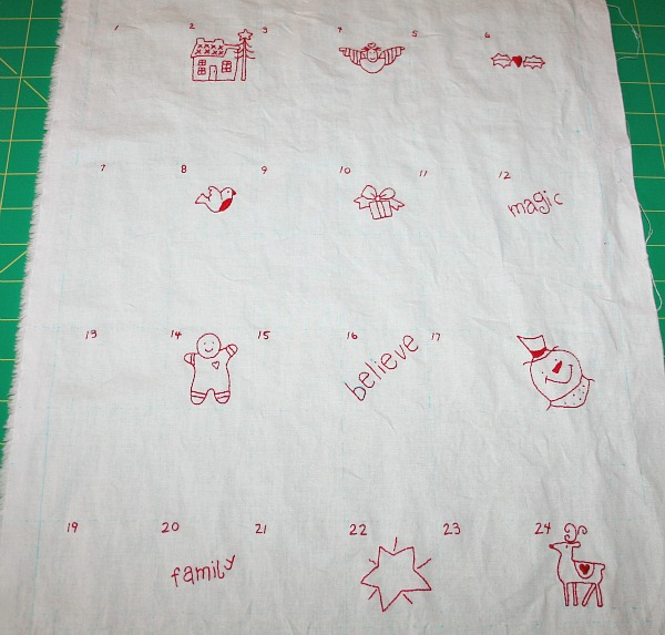 Embroidered pockets for my Advent Calendar