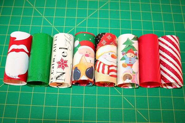 Step 5 - Cover several paper tubes with different paper