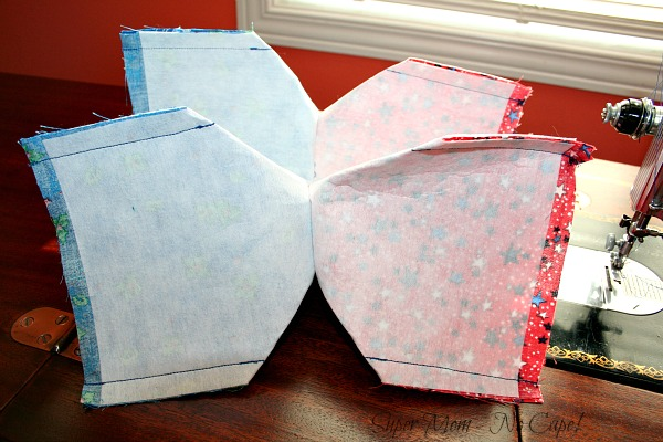 40. After all four corners have been sewn on both the outside and the lining