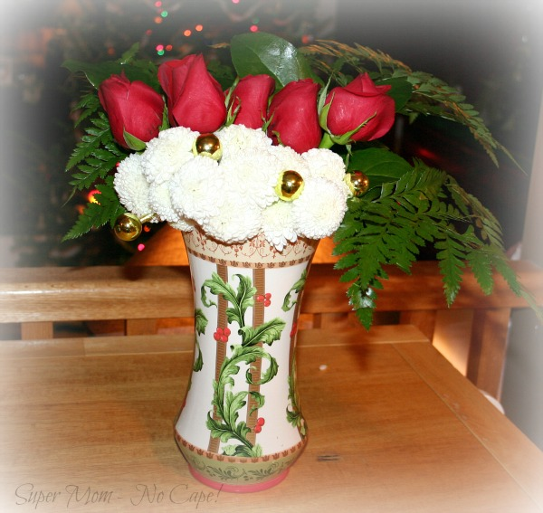 Christmas Vase with Roses and Mums