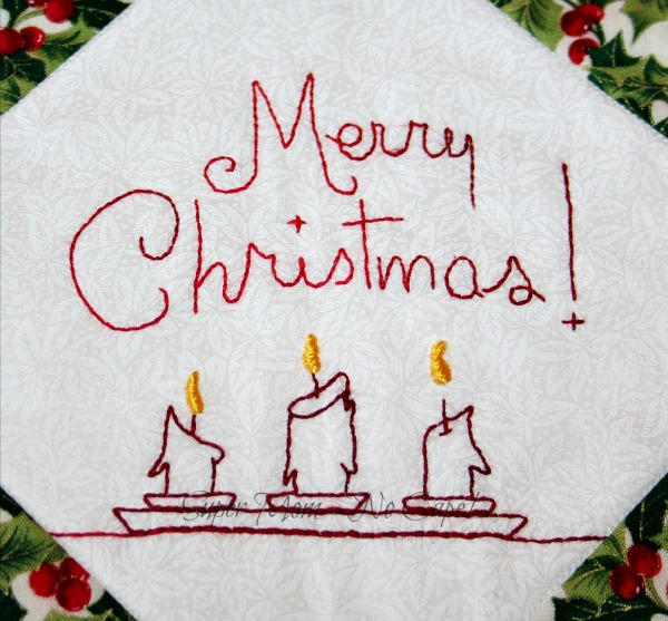 Embroidered Merry Christmas block