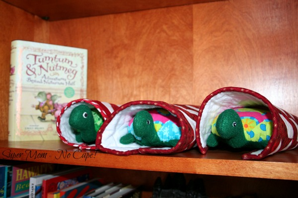 The Hexie Turtles wrapped in their quilts for naptime
