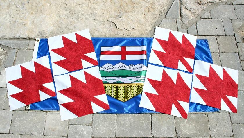 6 Maple Leaf Blocks Displayed on Alberta Flag