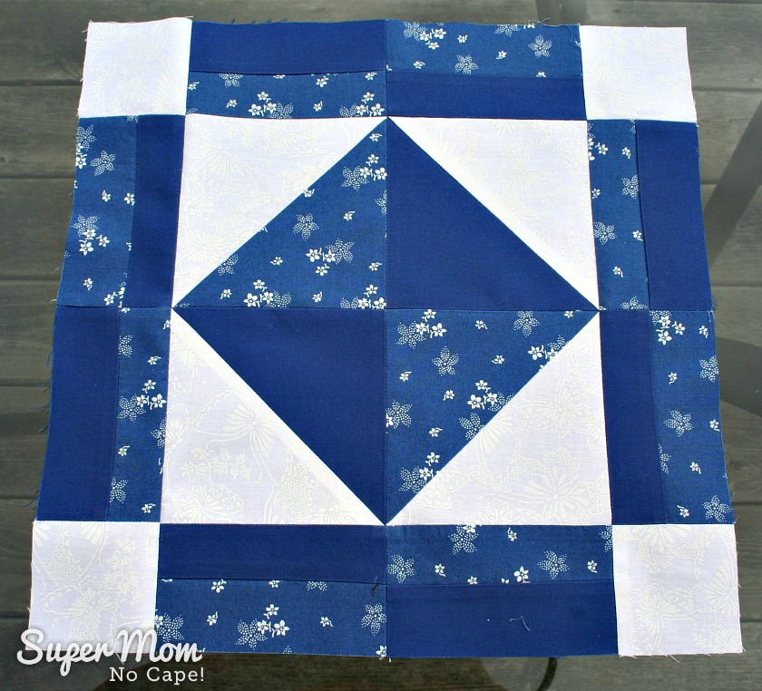 Blue and White Pieced Block - Block 3 of the In Our Garden BOM