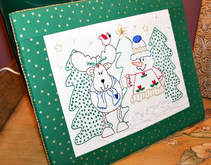 Reindeer and Snowman embroidery from slightly different angle