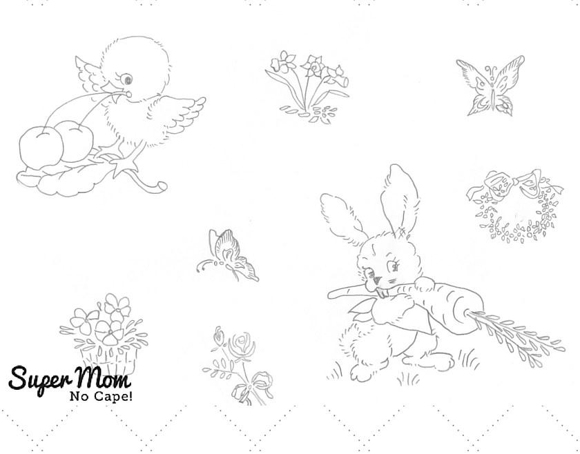 Vintage Workbasket Embroidery Pattern - Small Spring Motifs