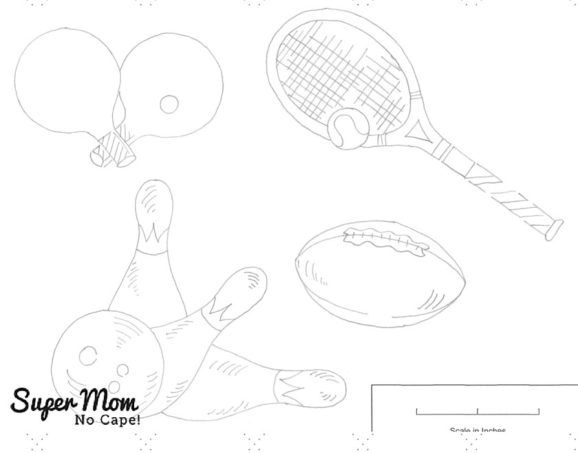 Vintage Workbasket Embroidery Pattern - Sports Equipment 2