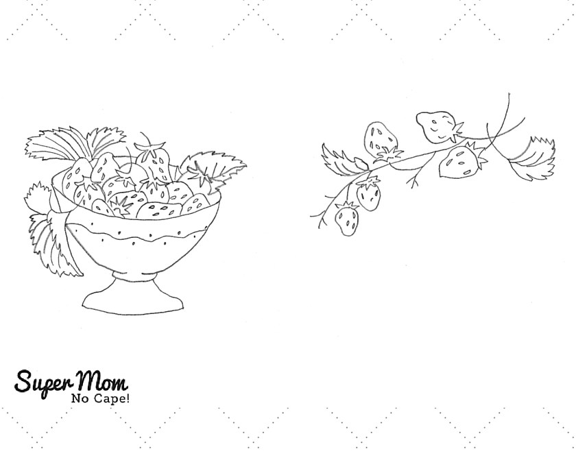 Vintage Workbasket Embroidery Pattern - Strawberries in a Bowl