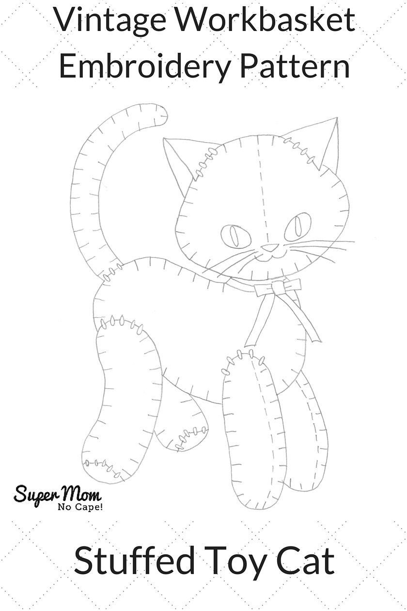Vintage Workbasket Embroidery Pattern - Stuffed Toy Cat