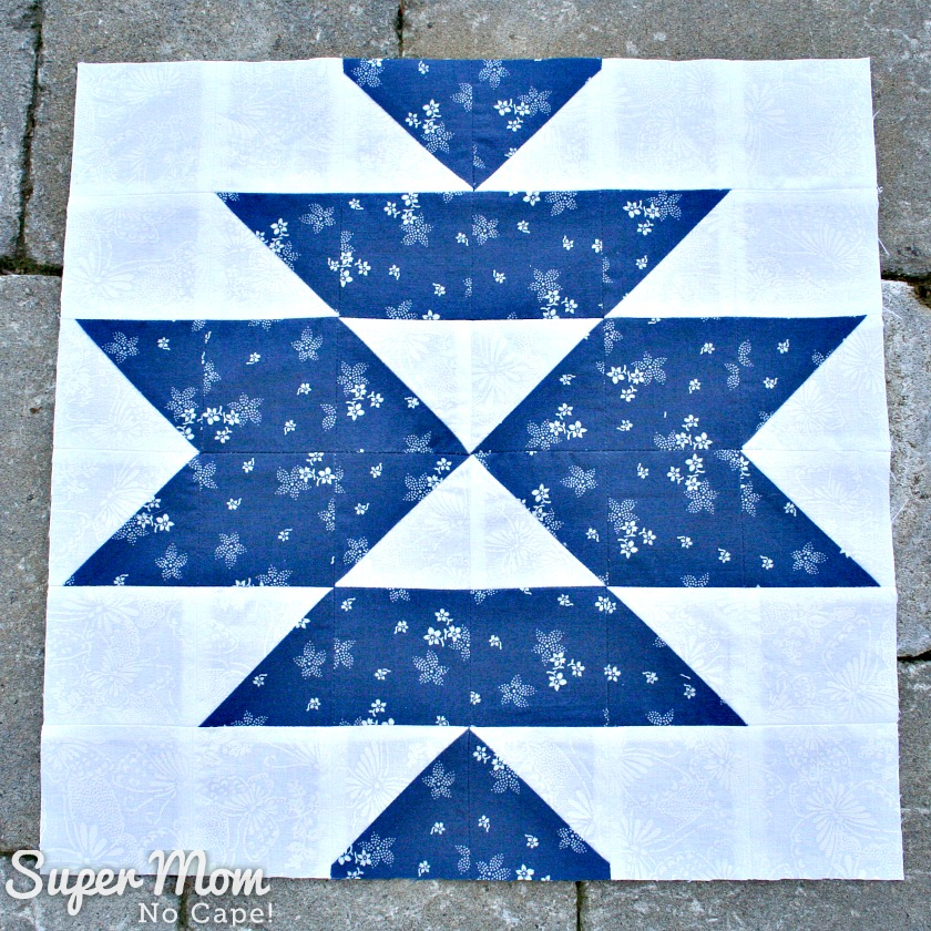 Block 17 for the In Our Garden BOM done in blue and white by Super Mom - No Cape!