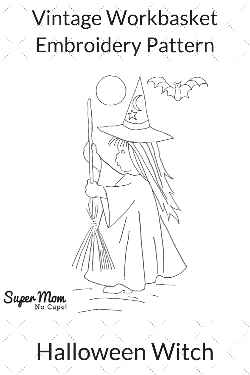 Vintage Workbasket Embroidery Pattern - Halloween Witch