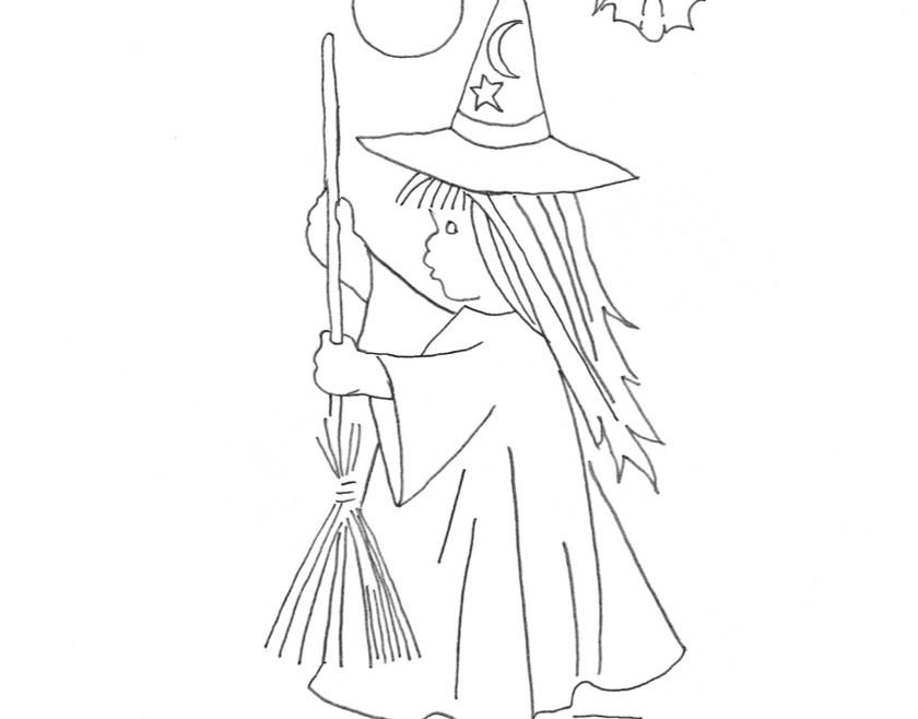 Vintage Workbasket Embroidery Pattern - Halloween Witch