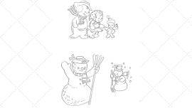 Vintage Workbasket - Embroidery Pattern - Snow Family and Friends