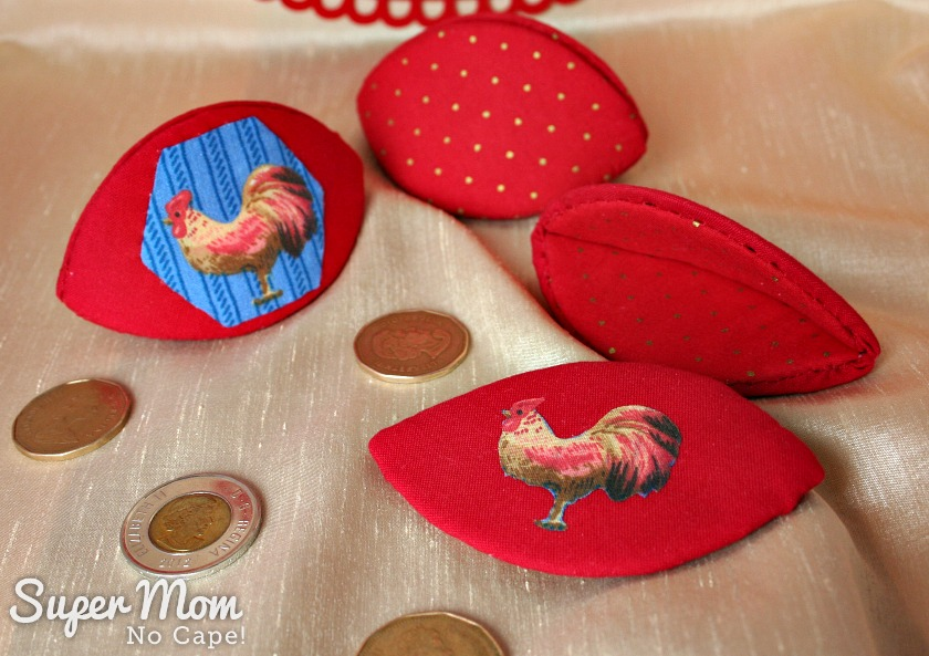 Chinese New Year Money Pips - Two with Roosters One Red with Gold Dots