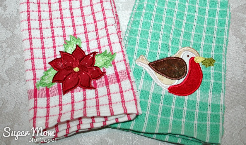 Machine embroidered tea towels made by Pauline