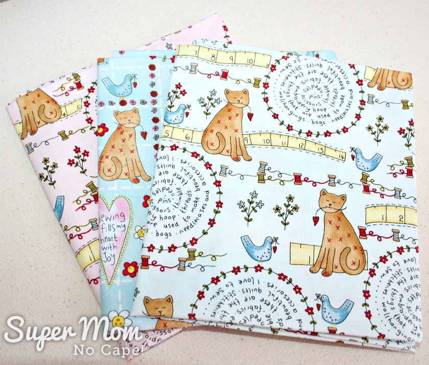 3 Fat Quarters of Stitches fabric by Lynnette Anderson for Henry Glass - 9th Anniversary Giveaway on Super Mom - No Cape!