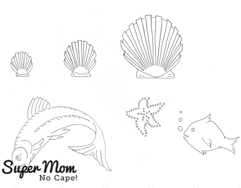 Vintage Workbasket Embroidery Pattern - Sea Shells, Sea Star and Fish