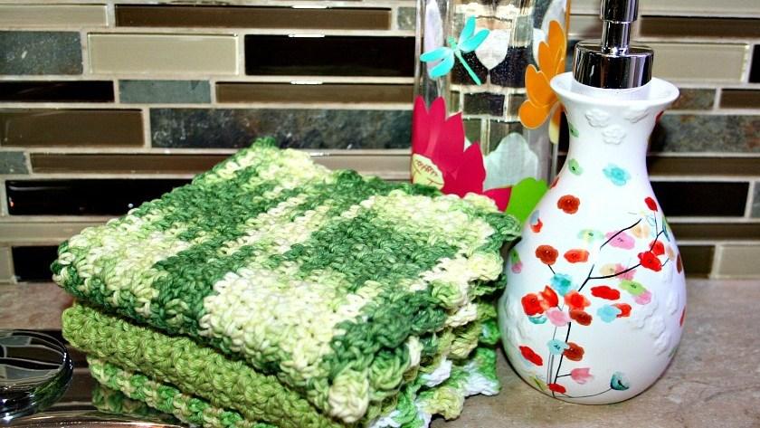 Crocheted Seed Stitch Dishcloth Pattern