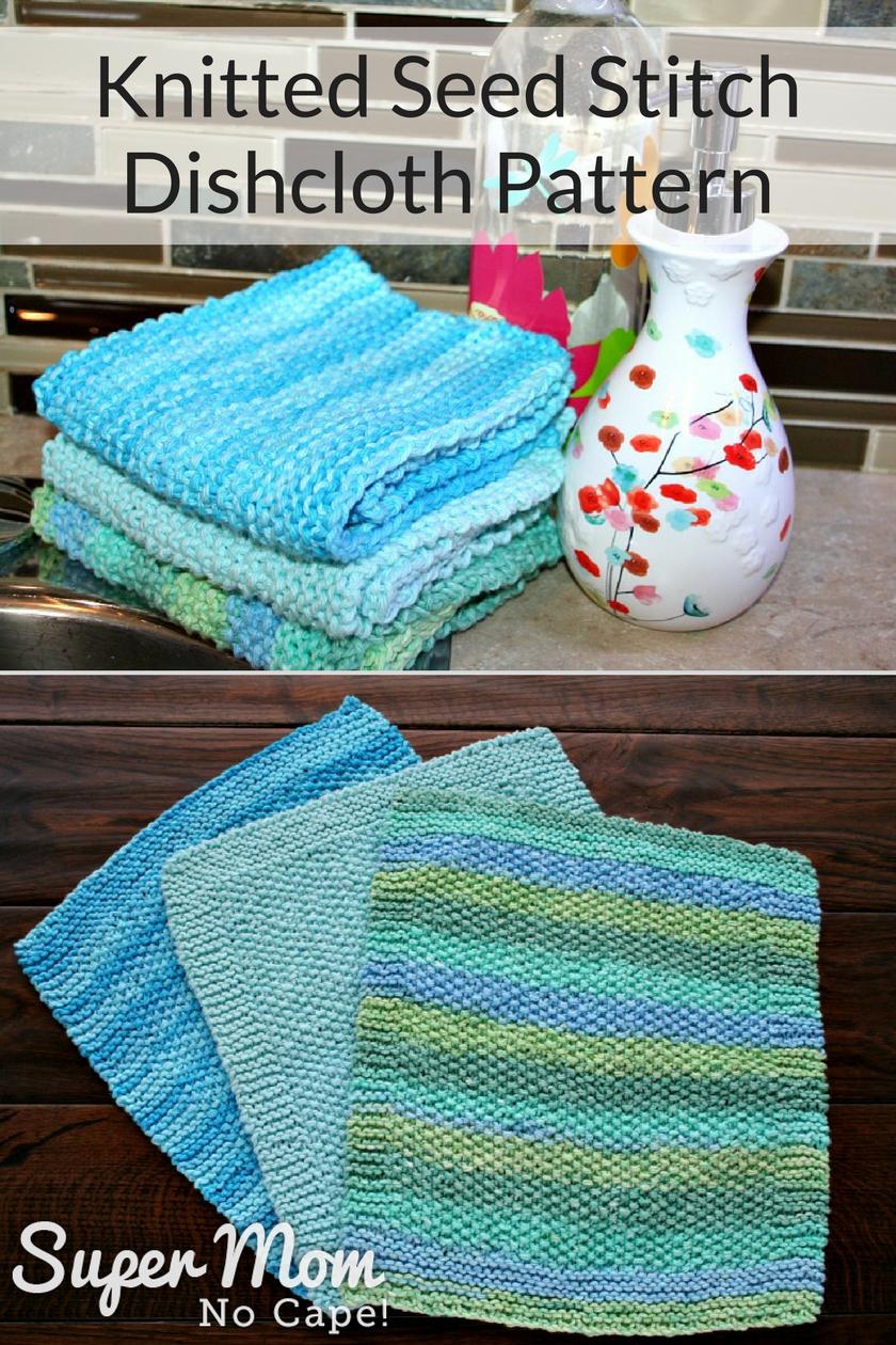 Knitted Seed Stitch Dishcloth Pattern - 3 pretty dishcloths ready to use