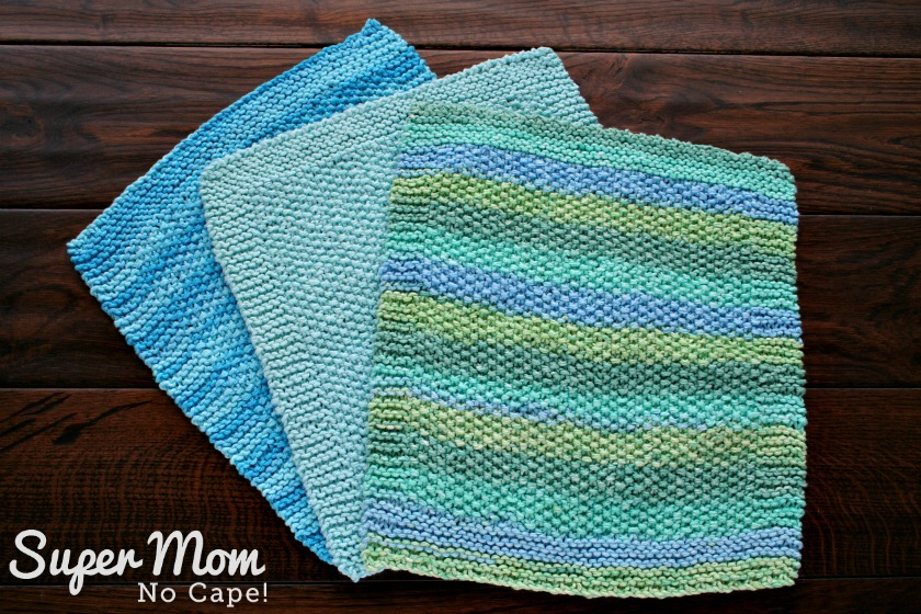 Knitted Seed Stitch Dishcloth - Three completed dishcloths
