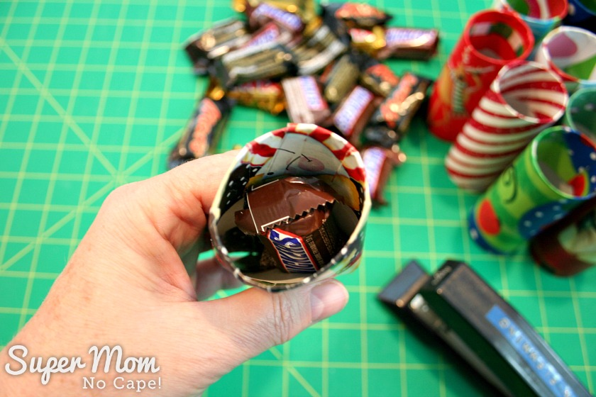 Halloween Treat to Christmas Party Favor - Add small candy bar to the tube