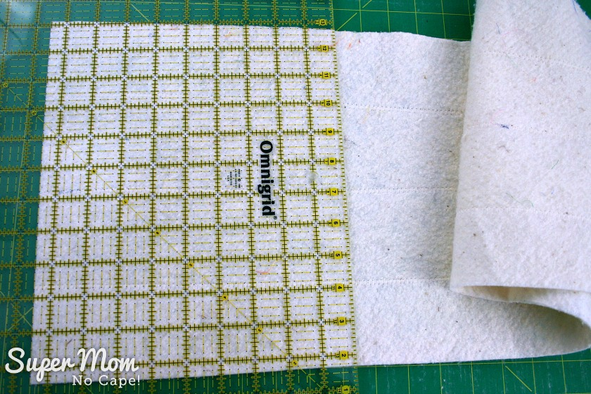 How to Join Leftover Strips of Quilt Batting - 10 Square up the joined strips to 9 and one half inches square