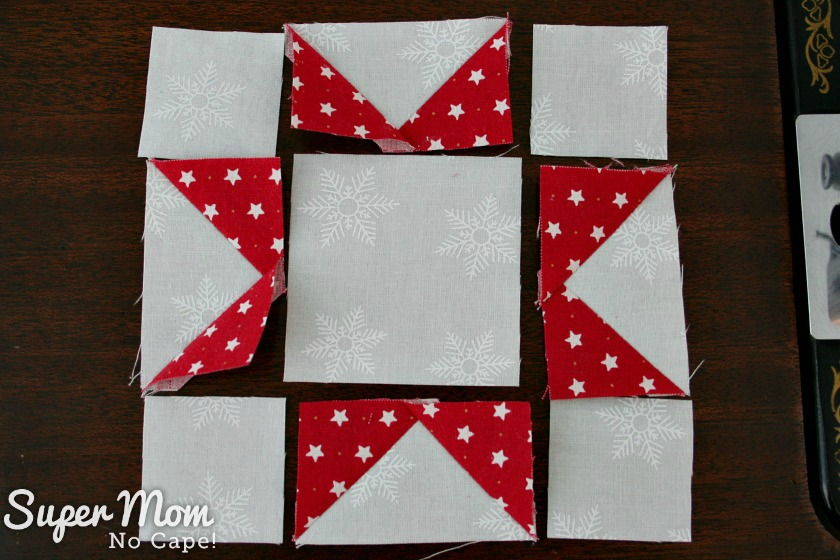 Sawtooth Star with Applique Center Ornament - 12. Lay out block as shown to form a star